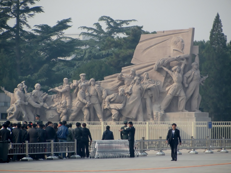 30-02 Sculpture of the Heroes of the People's Revolution and Outside of Mao's Mausoleum, Tianamen Square, Beijing