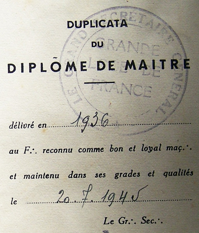 Image 7_Freemason_Dipolma, Detail, Grande Loge De France